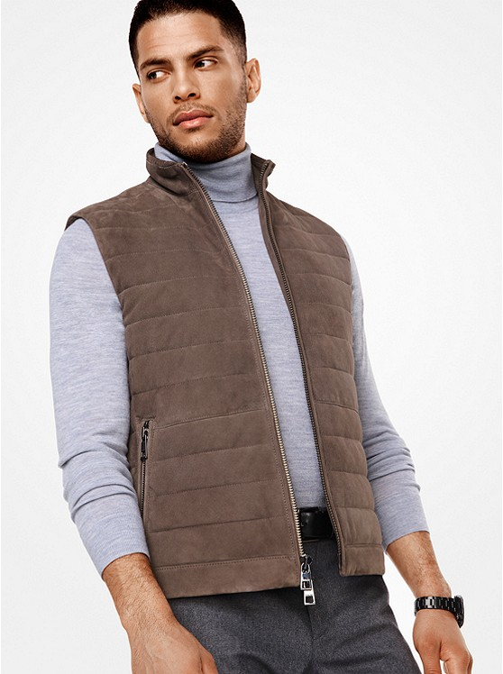 Quilted-Suede Vest