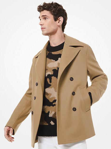 Wool Blend Peacoat Michael Kors, Mens Brown Pea Coats
