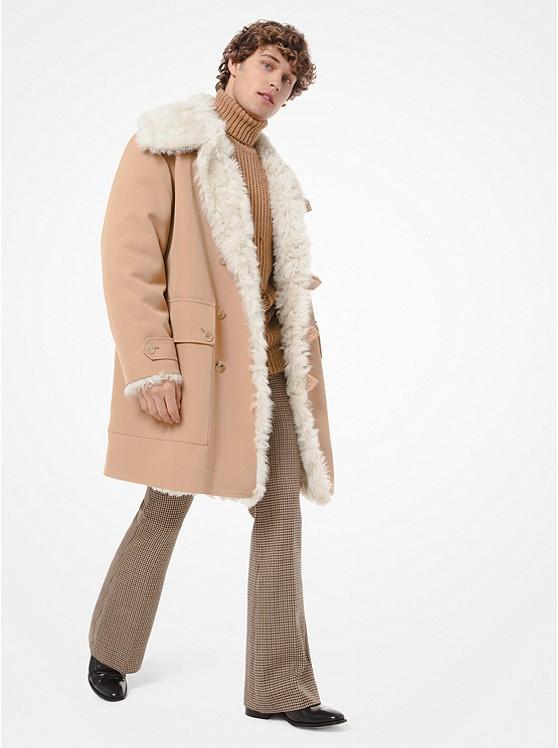new product 694fa 22710 Cappotto in lana e cotone con interno foderato in shearling