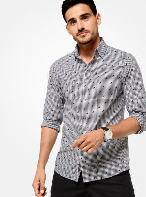 slim-fit geometric gingham cotton shirt | michael kors