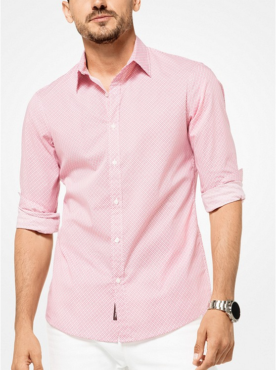 Slim-Fit Geometric Stretch-Cotton Shirt