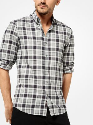 slim-fit check cotton shirt | michael kors