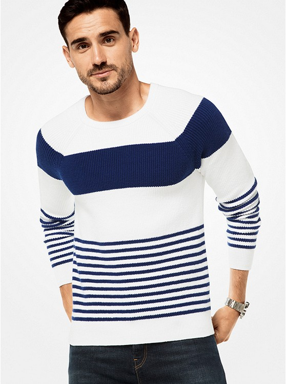 Striped Cotton Ribbed Pullover