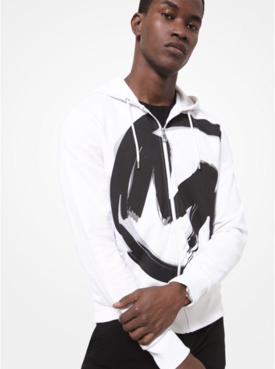 Brushstroke Logo Cotton Zip-Up Hoodie