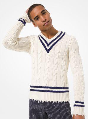 Hand Knit Cashmere Frayed Tennis Sweater Michael Kors