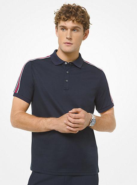 마이클 코어스 맨 폴로 셔츠 Michael Kors Logo Tape Cotton Polo Shirt,MIDNIGHT