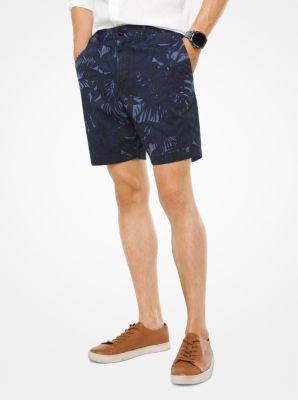 tropical stretch-cotton shorts | michael kors