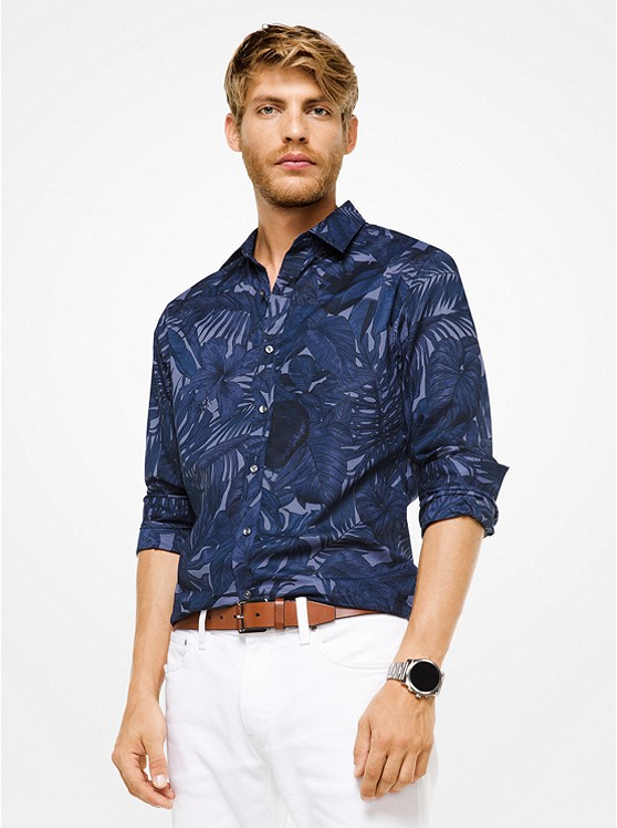 Slim-Fit Leaf Cotton Shirt