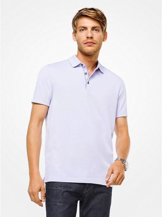 a9fe4089 Striped Cotton Polo Shirt Striped Cotton Polo Shirt. Michael Kors Mens