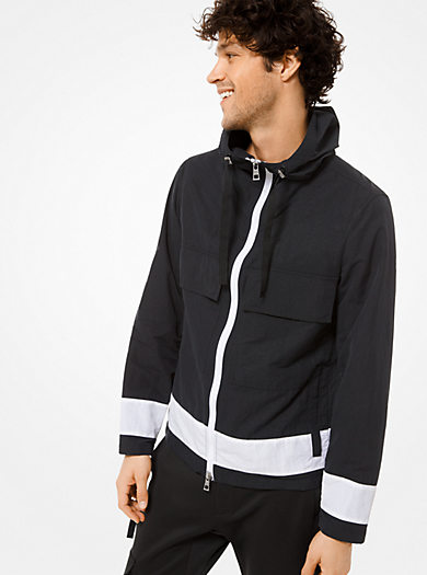 d8fa98645ad Veste à capuche en nylon à couleurs contrastées · michael kors mens · Veste  à capuche en nylon ...