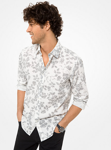 be2e5a1afd6 Slim-Fit Floral Cotton-Blend Shirt