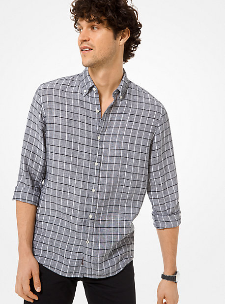92d458b6b7d Slim-Fit Check Linen Shirt. michael kors mens ...