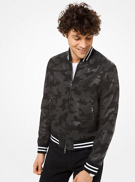 9a47de53c11 Camouflage Leather Varsity Jacket · michael kors ...