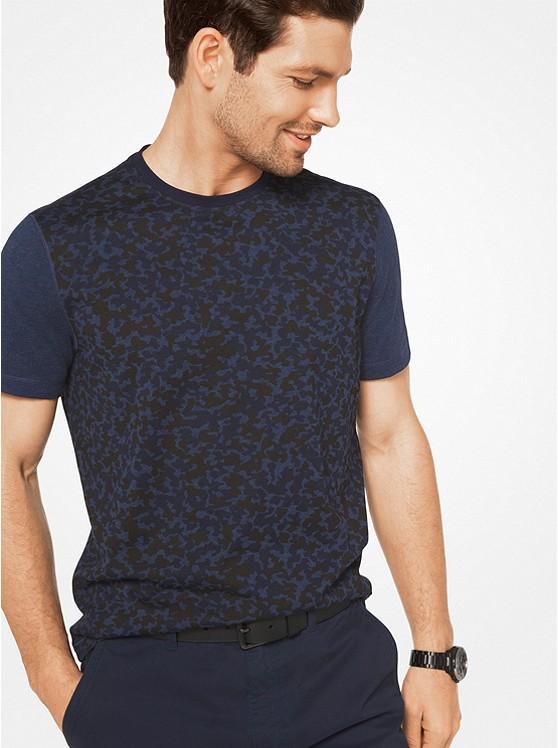 Color-Block Camouflage Cotton T-Shirt