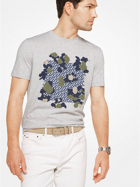 Painterly Camo Logo Cotton T-Shirt