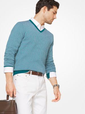 check cotton v-neck pullover | michael kors