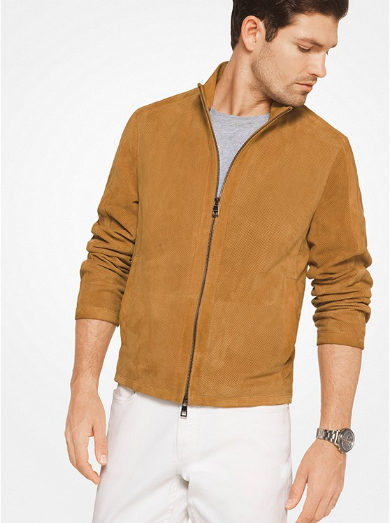 Perforated Suede Bomber Jacket