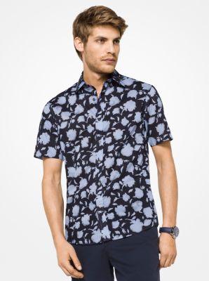 slim-fit floral cotton shirt | michael kors