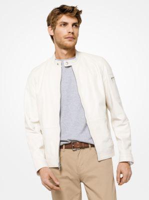 leather racing jacket | michael kors