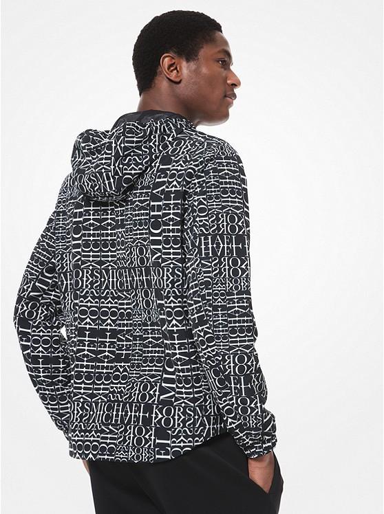 Newsprint Logo Stretch cotton Zip up Hoodie | Michael Kors