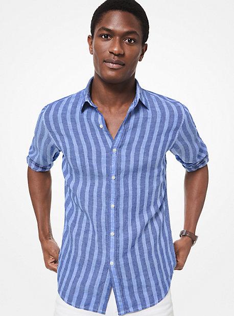 a9110becdb9 Slim-Fit Striped Linen Shirt · michael kors mens ...