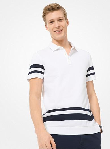 b05826c6 Striped Cotton Polo Shirt   Michael Kors