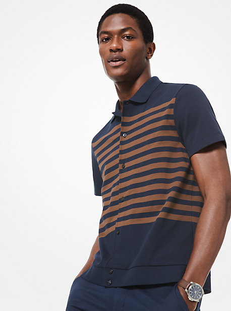 11bccc4f Striped Cotton Button-Down Polo Shirt · michael kors ...