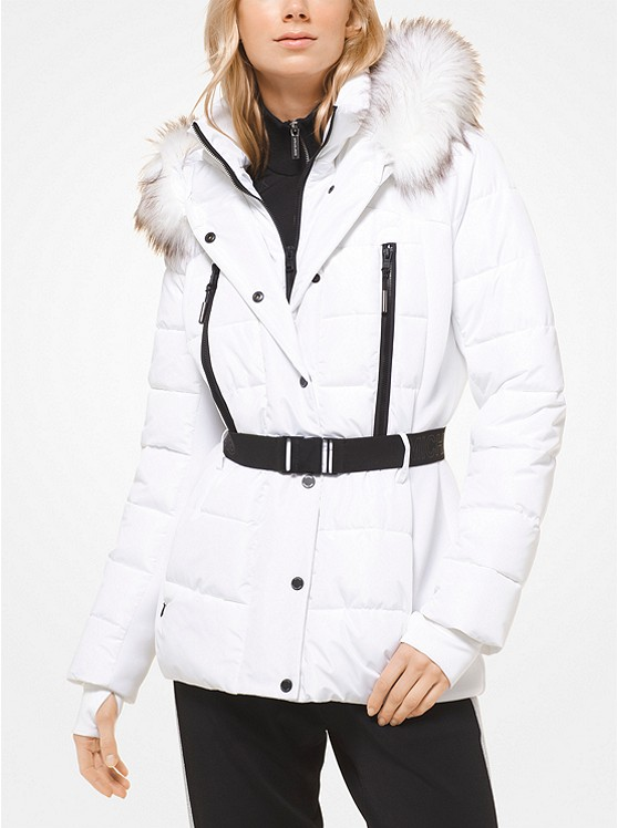 Faux Fur-Trimmed Belted Puffer Jacket