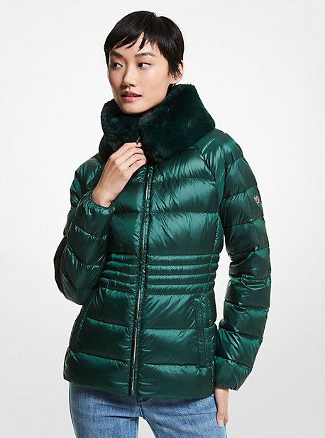 마이클 마이클 코어스 에코 퍼 숏패딩 Michael Michael Kors Faux Fur Collar Quilted Nylon Packable Puffer Jacket