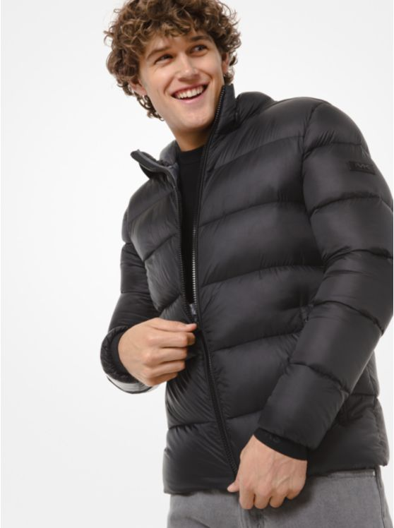 Quilted Nylon Hooded Puffer Jacket
