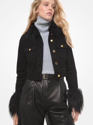 마이클 마이클 코어스 에코퍼 크틺 크롭 데님 자켓 Michael Michael Kors Faux Fur Trim Cropped Denim Jacket,BLACK