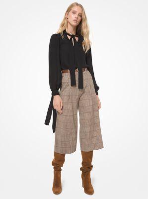 마이클 마이클 코어스 플리츠 울 퀼로트 Michael Michael Kors Tattersall Pleated Stretch Wool Culottes,CARAMEL