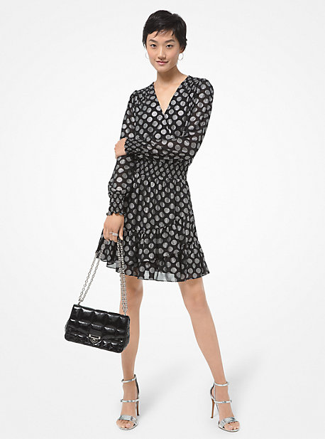 마이클 마이클 코어스 조젯 랩 원피스 Michael Michael Kors Metallic Dot Georgette Ruffled Wrap Dress,BLACK/SILVER
