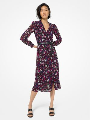 마이클 마이클 코어스 플로럴 조젯 셔츠원피스 Michael Michael Kors Floral Georgette Shirtdress