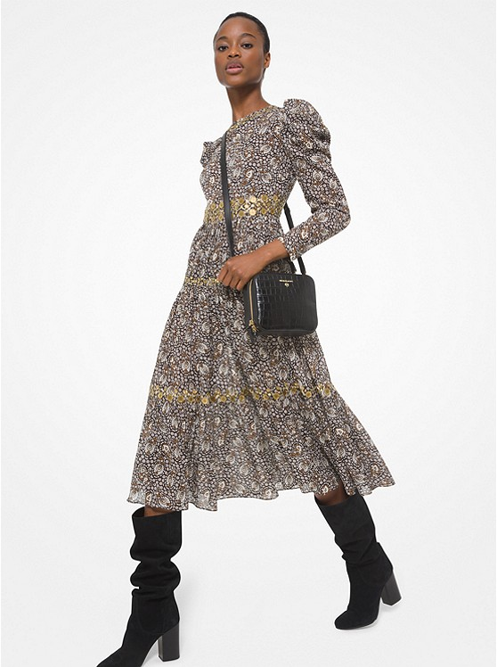 Embellished Paisley Cotton Lawn Puff-Sleeve Dress