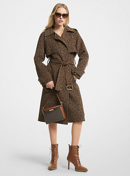 마이클 마이클 코어스 레오파드 프린트 트렌치 코트 Michael Michael Kors Leopard Print Wool Blend Trench Coat,DARK CAMEL HEATHER