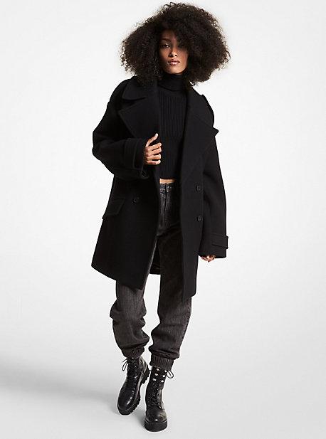 마이클 마이클 코어스 오버사이즈 피코트 Michael Michael Kors Wool Blend Oversized Peacoat,BLACK