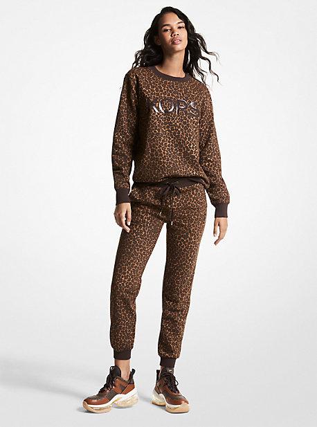 마이클 마이클 코어스 조거팬츠 Michael Michael Kors MKGO Leopard Print Organic Cotton Blend Joggers,CHOCOLATE