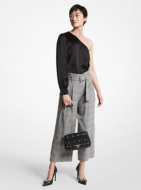 마이클 마이클 코어스 크롭 팬츠 Michael Michael Kors Plaid Stretch Wool Cropped Trousers,BLACK/WHITE