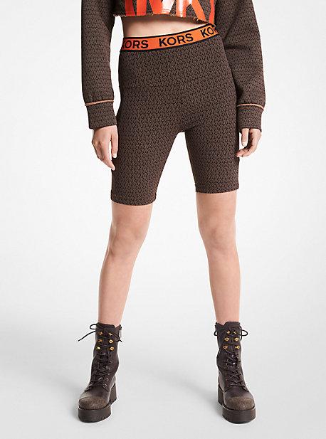 마이클 마이클 코어스 바이커 쇼츠 Michael Michael Kors MKGO Logo Tape Stretch Nylon Bike Shorts,CHOCOLATE
