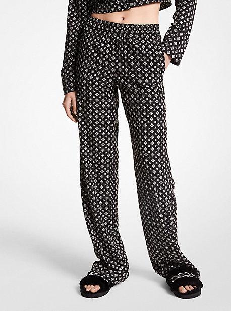 마이클 마이클 코어스 파자마 팬츠 Michael Michael Kors Studded Medallion Crushed Crepe Pajama Pants,NICKEL