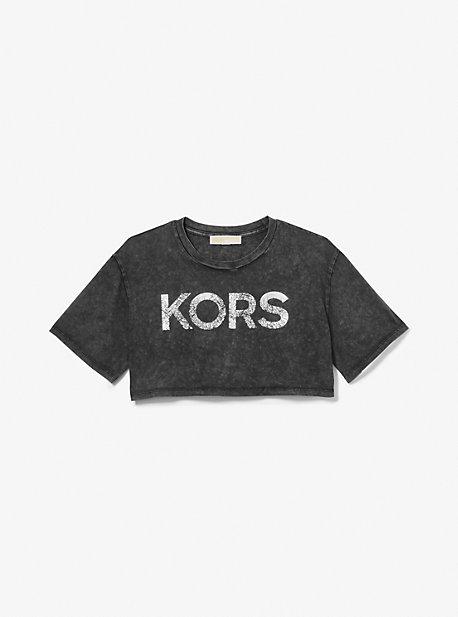 마이클 마이클 코어스 크롭 티셔츠  Michael Michael Kors Logo Organic Cotton Acid Wash Cropped T-Shirt,BLACK