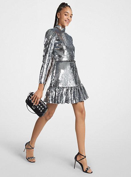 마이클 마이클 코어스 시퀸 러플 원피스 Michael Michael Kors Sequined Georgette Ruffled Dress,SILVER