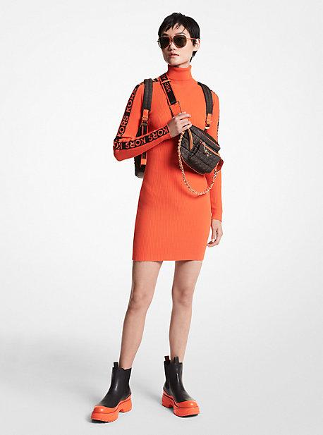 마이클 마이클 코어스 로고 스웨터 원피스 Michael Michael Kors MKGO Logo Tape Ribbed Stretch Viscose Turtleneck Sweater Dress,OPTIC ORANGE