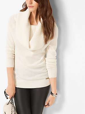 Michael Kors Cowl-Neck Merino Wool-Blend Sweater