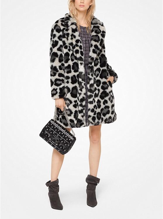 Leopard Faux-Fur Jacquard Coat
