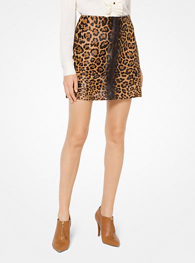 7aa57b3dfb39 Leopard Calf Hair Mini Skirt. michael michael kors ...