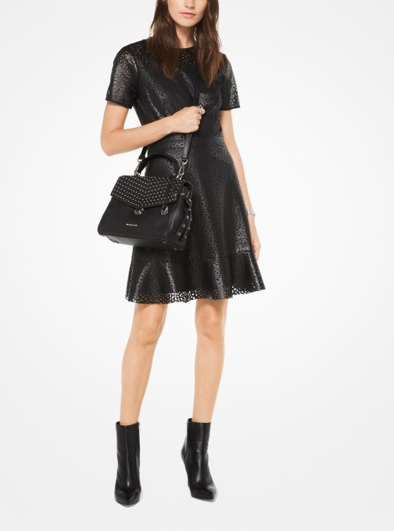 Perforated Faux-Leather Dress