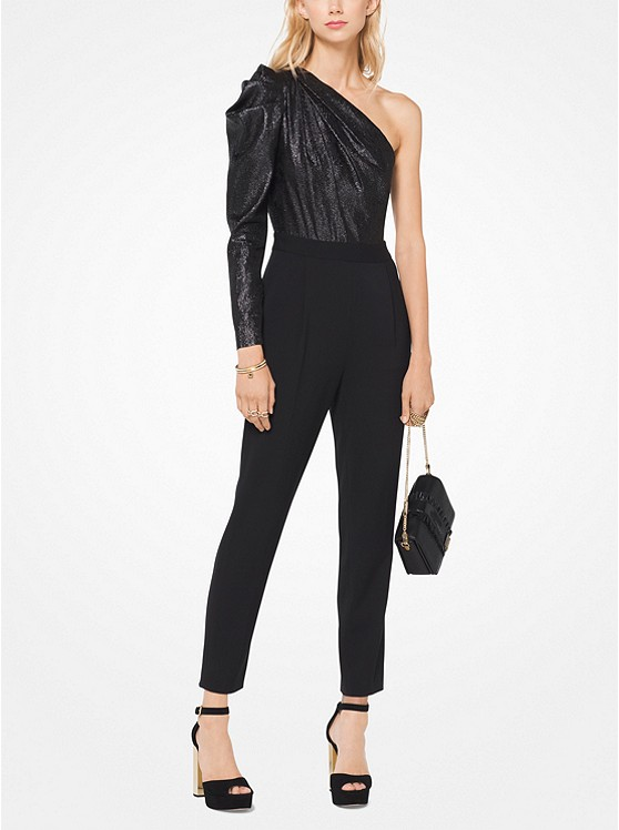 Metallic Jacquard Asymmetrical Jumpsuit