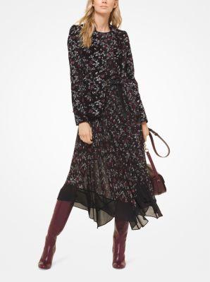 마이클 마이클 코어스 보태니컬 벨벳 블레이저 Michael Michael Kors Botanical Velvet Blazer,BLACK/MAROON